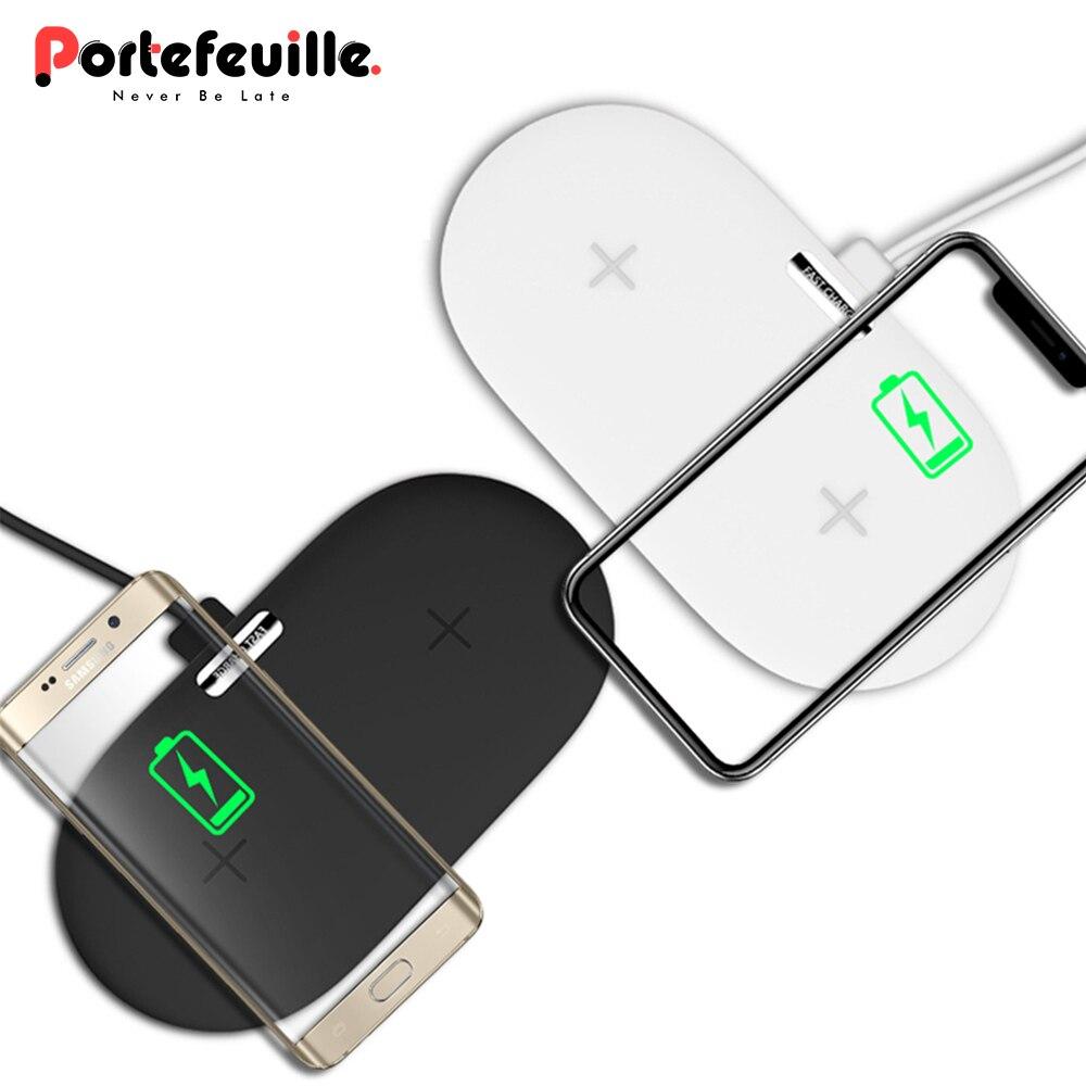 Portefeuille 2in1 carga inalámbrica Pad cargador rápido del escritorio para el iPhone X 8 cargador inalámbrico para Samsung Note8 cargador de teléfono HTC