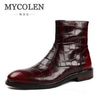 MYCOLEN 2017 New Crocodile Mens Ankle Boots Embossed Genuine Leather Dress Boots Autumn Mens Wedding Shoes botas masculinas