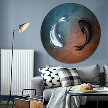 Modern Circular Style Poster Artworks Home Decorative Living Room Wall 1 Piece Canvas HD Printed Yin and Yang Fish Painting