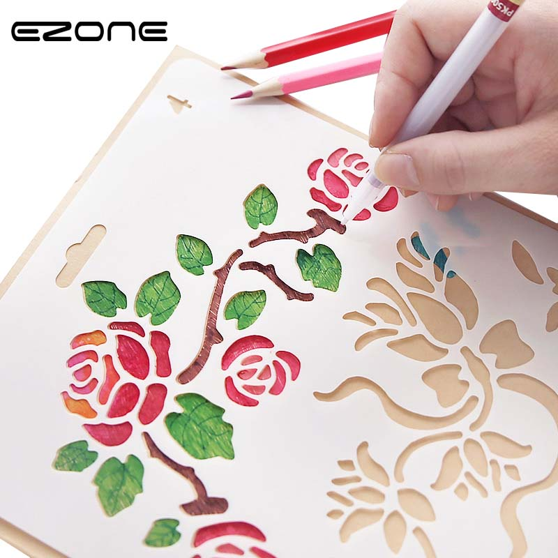 EZONE 1PC Hollow Template Stamp DIY Drawing Tool Number Letter Flower Grape Vine Theme Lace Template Ruler School Stationery