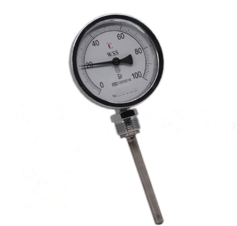 WSS-411 bimetal thermome1 bimetal thermometer industrial thermometer boiler tube high temperature radial temperature measurement remote bimetal thermometer with capillary dial 3