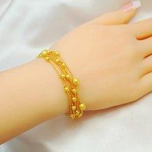 Женский браслет с цепочкой и бусинами желтое золото подарок