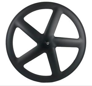 Image 1 - 700C Full Carbon 5 Spokes Clincher/Tubular Wheels Five spoke carbon wheelset for Track/ Road Bike UD/3K matte finish
