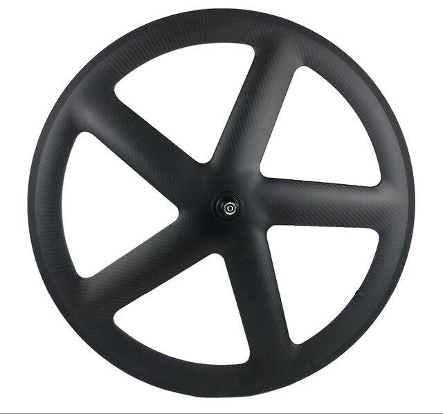 700C Volle Carbon 5 Speichen Klammer/Rohr Räder Fünf speichen carbon laufradsatz für Track/Rennrad UD /3K matte finish