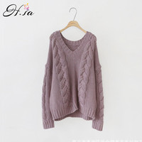H SA 2017 Autumn New Sweater And Pullovers Long Sleeve Korean Twist Sweaters Warm Thick Jumper