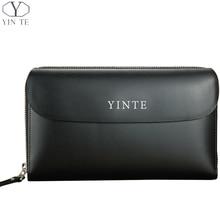 YINTE Leather Men's Clutch Wallets Business Men Hand Bags Black Bag Men Purses Card Holder Passport Purse Men Wrist Bags T8028-3