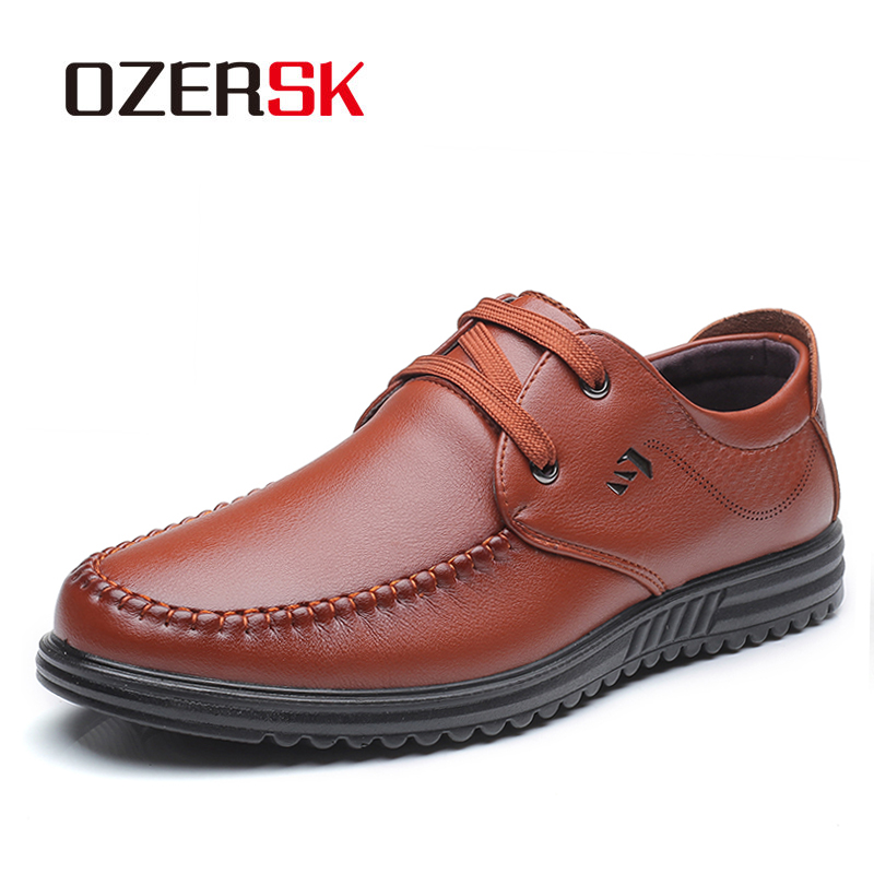OZERSK 2019 New Men's Genuine Leather Loafers Extra Soft Shoes Man Casual Driving Shoes Man Flats Men Genuine Leather Shoes