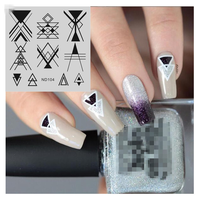 NICOLE DIARY Nail Art Stamping Image Plates Abstract Line Patterns Stainless Steel High Quality DIY Stamping Template