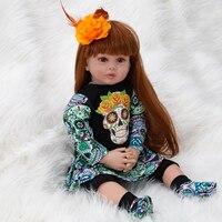 Skull Girl Toys 60cm Soft Silicone Reborn Dolls 2019 Halloween Gift Baby Realistic Doll Reborn Vinyl Boneca Lol Surprises