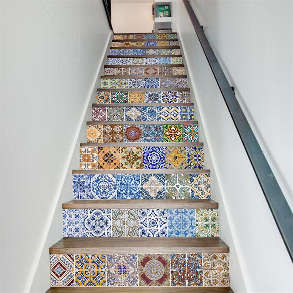 Chic Ways To Decorate Your Staircase Wall: 13 Piece DIY Wall Sticker 3D Stairway Stickers Bohemian