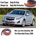 Para Chevrolet Cruze J300 2008 ~ 2014/Car Bumper Lip/Cuerpo Kit/Delantero/Trasero Falda Alerón/Deflector de Parachoques De Goma tira