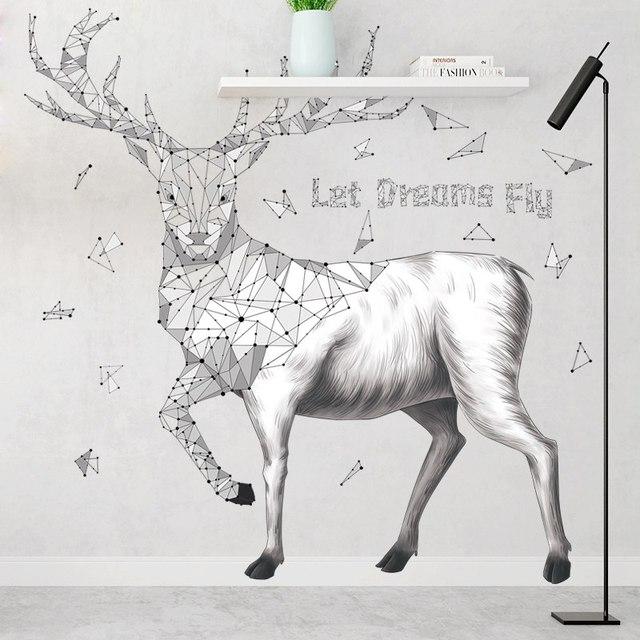 Simple Style Sketch Deer Wall Stickers For Living Room Bedroom Tv