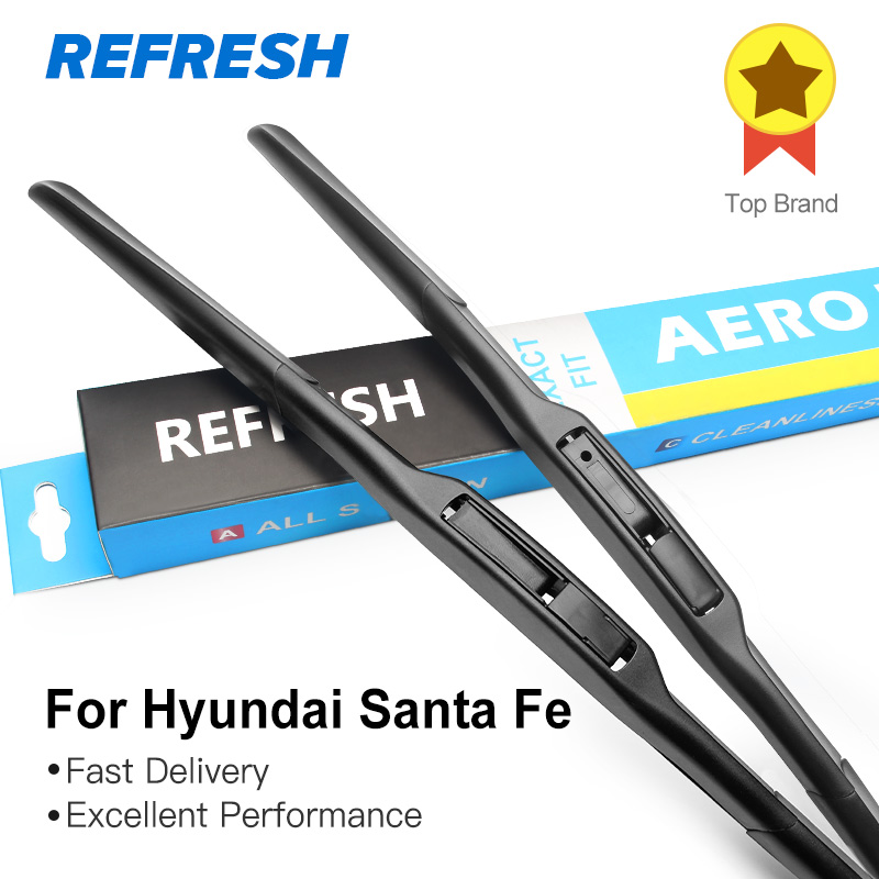 REFRESH Hybrid Wiper Blades for Hyundai Santa Fe Fit Hook Arms Model Year from 2000 to 2017