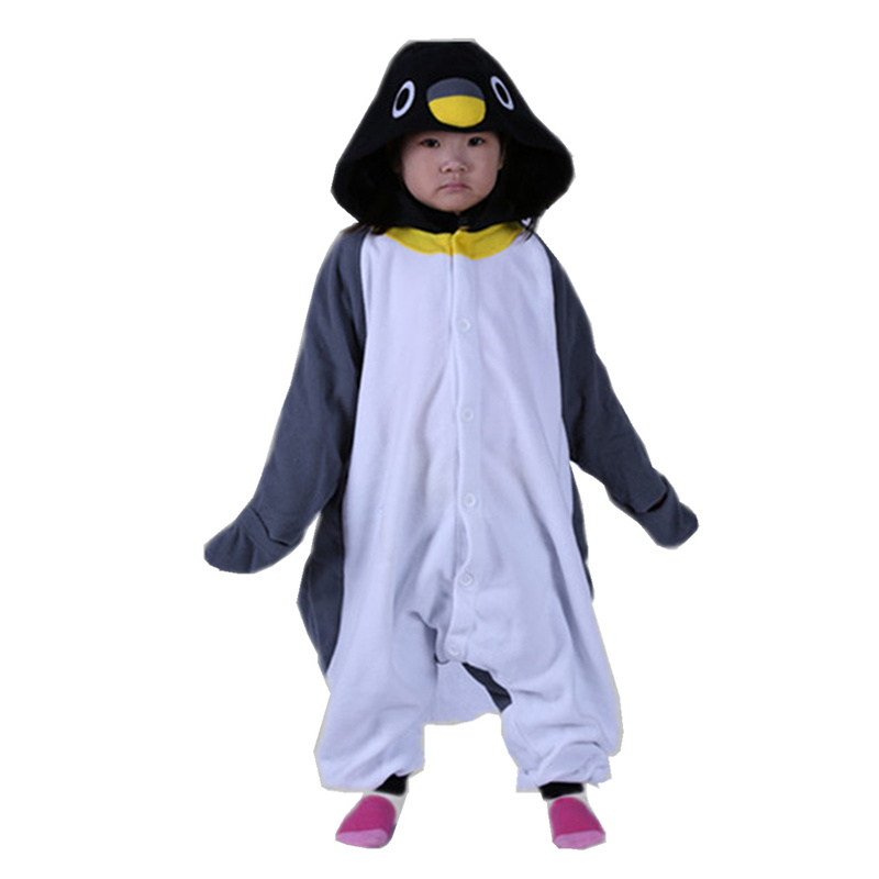 DOUBCHOW Kids Girls Boys Grey Penguin Onesies Costumes Cartoon Pajamas Halloween Christmas Party Children Cosplay Lounge Wear