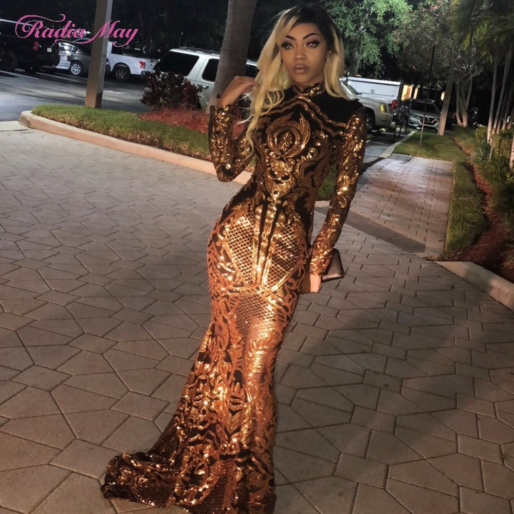 Black Girls Long Sleeves Mermaid Gold Prom Dresses 2k19 High Neck Sequined Embroidery Elegant African Women Formal Evening Gowns