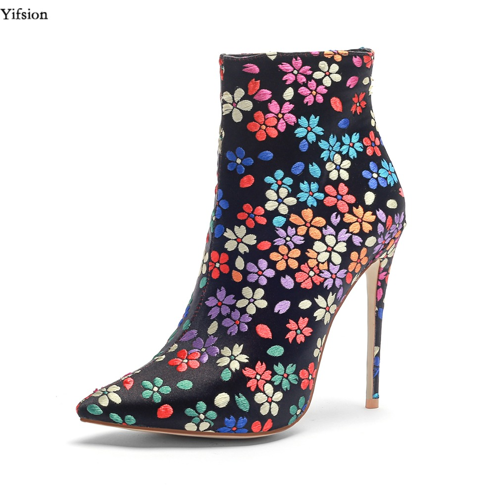 Yifsion Women Winter Floral Ankle Boots High Heel Boots Sexy Pointed Toe Gorgeous Mix Colors Party Shoes Women Plus US Size 3-13Yifsion Women Winter Floral Ankle Boots High Heel Boots Sexy Pointed Toe Gorgeous Mix Colors Party Shoes Women Plus US Size 3-13