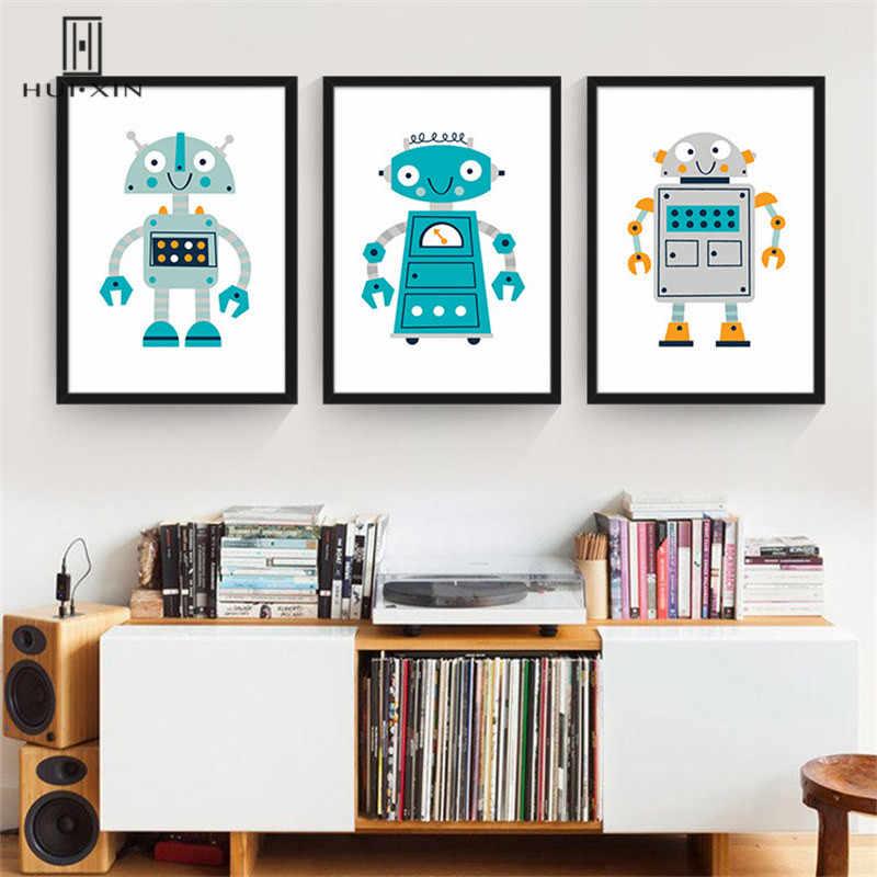 Hermosas imágenes de Robot de dibujos animados, como Amarillo azul y gris, diseñadas para decoración del hogar y regalos para niños por lona