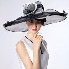 Blanco vestidos de señoras de la iglesia kentucky derby sombreros para la fiesta del té sombreros para las mujeres negras del verano de ala ancha sombreros organza chapeau femme