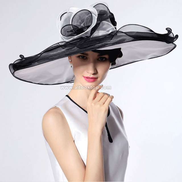 85c95147927 White kentucky derby hats for tea party dresses ladies church hats for black  women summer wide brim hats organza chapeau femme