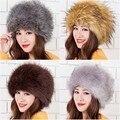 Новое прибытие зимние шапочки элегантный тонкий искусственного меха многоцветный искусственного фокс меховые шапки для женщин теплый моды шляпы sexy cosplay шляпы