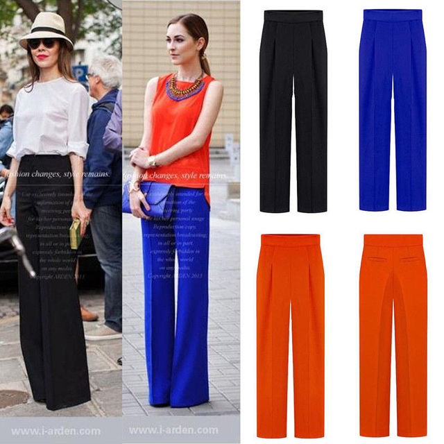 2017 Women Summer High Waist Flare Pant Career Casual Business Wide Leg Trousers Loose Chiffon Pants