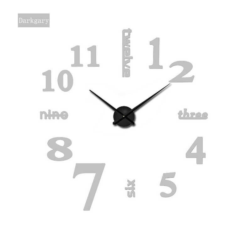 2019 Super Große DIY Wanduhr Acryl + EVR + Metall Spiegel Super Große Personalisierte Digitale Uhren Uhren Freeshipping 130 cm x 130 cm