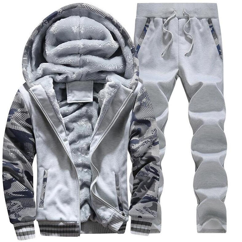 Large Size M-5XL Winter Tracksuits Men Set Plus Velvet Sporting Suit Warm Thickened Sportswear Sweatsuit Two Piece Outfit Sets