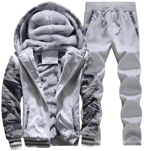 Large Size M 5XL Winter Tracksuits Men Set Plus Velvet Sporting Suit Warm Thickened Sportswear Sweatsuit Two Piece Outfit sets