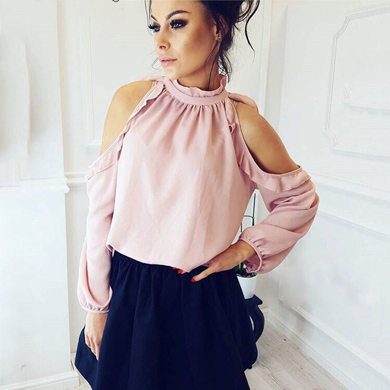 Blouses & Shirts Lovely 2018 Fashion Women Off Shoulder Open Back Embroidery Foldover Tunic Tops Dropship B15 A#487