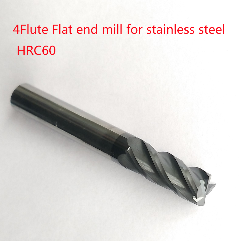 1mm,2mm,3mm,4mm,6mm,8mm,10mm,12mm 4 flutes HRC60-65 Tungsten Carbide Flat End Mill for stainless steel CNC Milling Router Bits long tool life 4 flutes milling tools roughing end mill cutter rough cutter 3mm 4mm 6mm 8mm 10mm 12mm 14mm 16mm cnc router bits