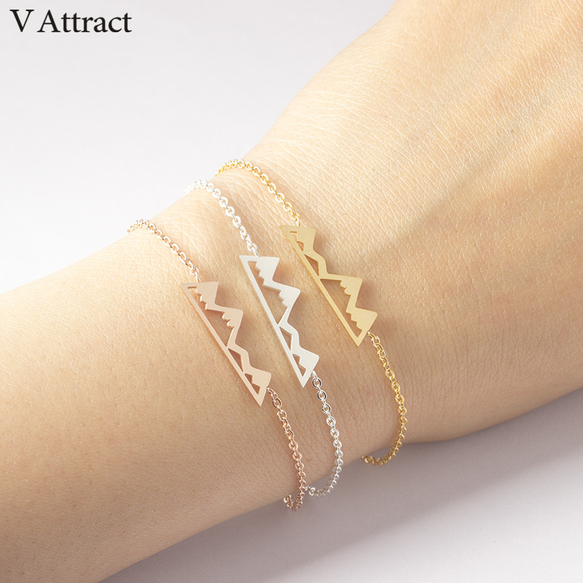 V привлечь Нержавеющаясталь Bijoux Femme розовое золото кеттинг Adventure Mountain браслет для Для женщин BFF ювелирные изделия Выпускной подарок
