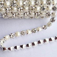 18ss 5 Yards 1 Rows Sewing Accessories 5mm Pearls Clear Crystal Rhinestone Mesh Trimming
