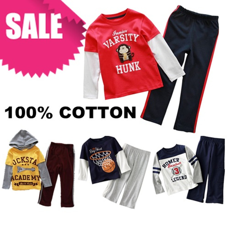 ST-1 Children boys girls Clothing sets 100% cotton long sleeve T shirt + pant Pajamas for 1-6 age.