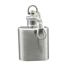 1oz Mini Stainless Steel Silver Color Hip Flasks Alcohol Flagon With Keychain Outdoor Portable Wine Liquor Whiskey Small Bottle portable stainless steel outdoor multitool keychain with phone holder