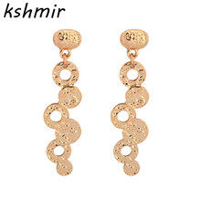 Popular fashion earrings Geometric eardrop accessories Luxury long golden women wholesale