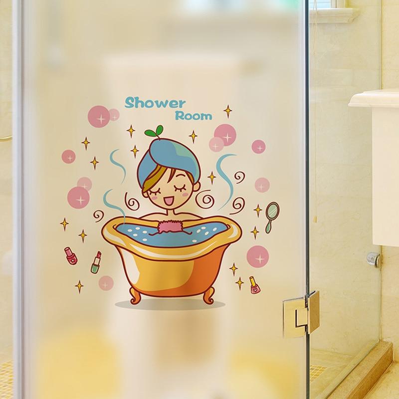 Lovely Girl In The Bath Glass Door Wall Sticker Shower Waterproof Bathroom Home Decoration Art Decals Stickers Wallpaper