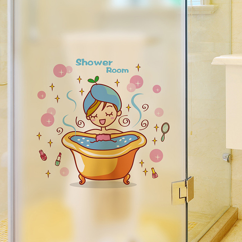 Lovely girl in the bath Glass Door Wall Sticker Shower Waterproof bathroom Home Decoration Art Decals Stickers wallpaper