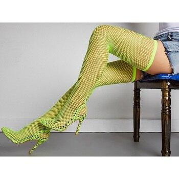 Γυναικεία Παπούτσια Με Ενσωματωμένη Διχτυωτή Κάλτσα Αισθησιακή Εμφάνιση Γυναικείες Μπότες Παπούτσια MSOW