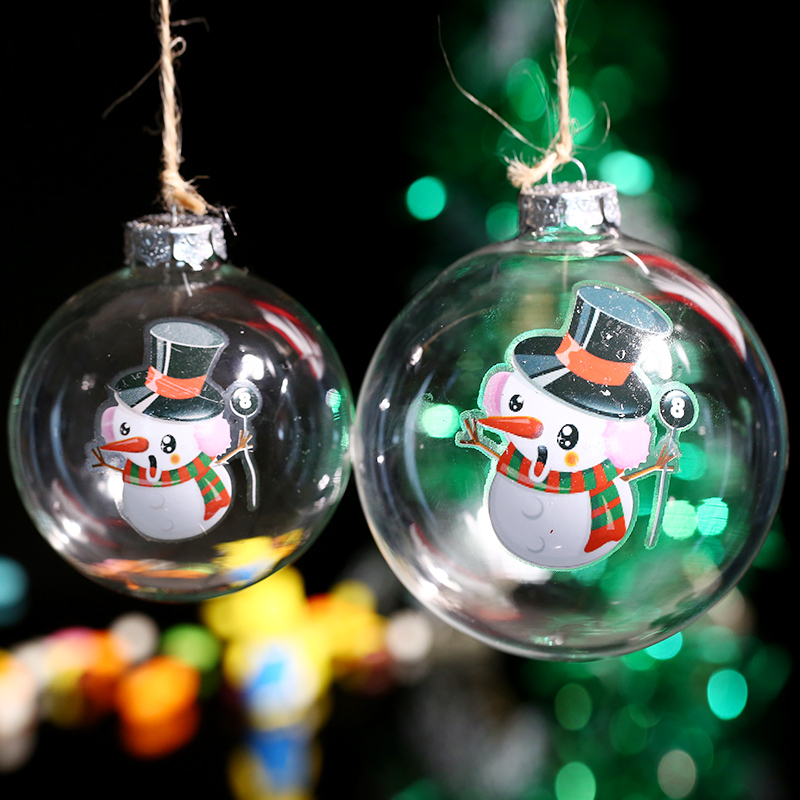 Colorful Christmas Ornaments Drawings.Us 6 17 5 Off 1 Pc Handmade Colored Drawing Balloon Snowman Transparent Glass Ball Holiday Christmas Tree Decoration In Ball Ornaments From Home