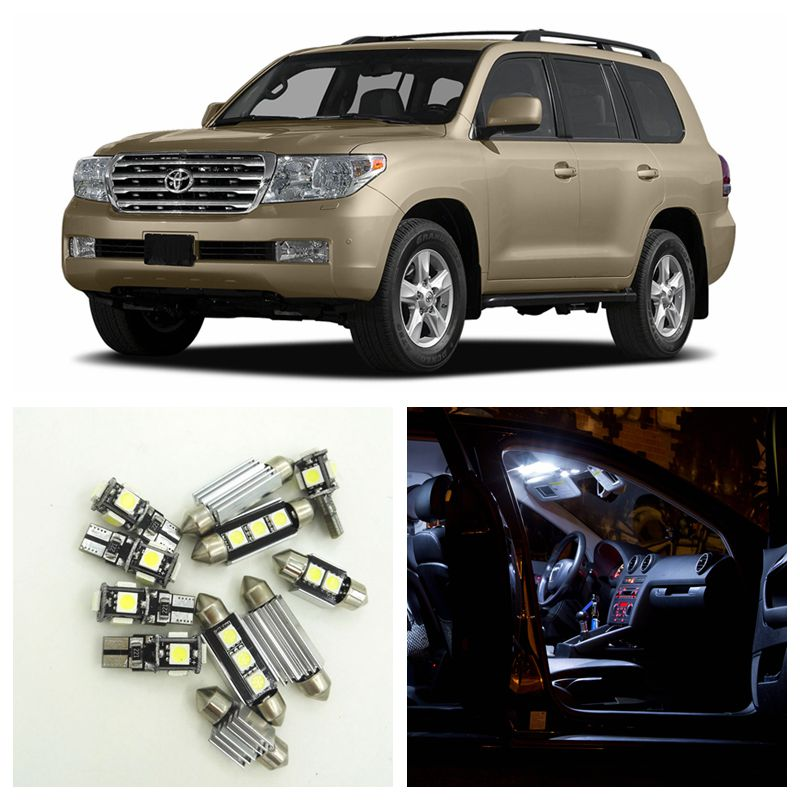 14pcs White Car LED Light Bulbs Interior Package Kit For 2008 2009 2010 2011 Toyota Land Cruiser Map Dome License Plate Lamp скейтборды penny комплект лонгборд original 22 ss