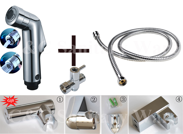 G1/2, G7/8, G3/4, M18X1.5L Optional ABS Chrome Handheld Shattaf Bidets With T-adapter Hose And Holder (Gift) A1601ST биде maide shattaf g7 8 t 3018