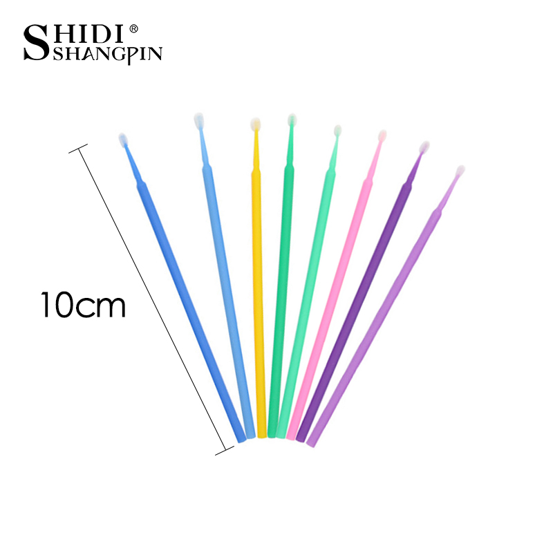 SHIDISHANGPIN 100 PCS Disposable Make Up Eyelashes Mini Individual lashes Applicators Mascara Brush Lash Extensions Cotton Swab 3