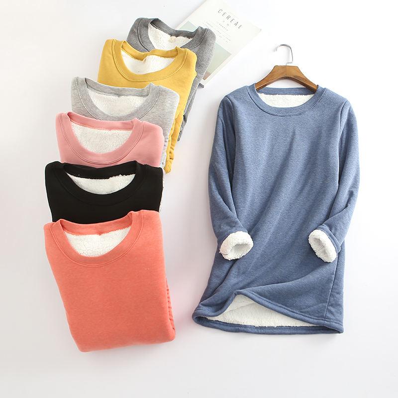 Inverno Além de Veludo Camisa de Manga Longa Mulheres Quente Grosso camiseta Streetwear Do Vintage Camiseta Feminina Slim Senhoras Encabeça Tshirt Q896