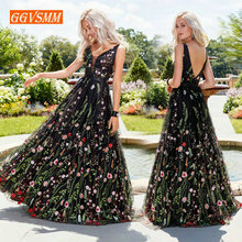 Sexy Black Bohemian Long Prom Dresses 2019 Press Women Party V-neck Tulle Embroidery Lace Backless Beach BOHO Evening Gowns