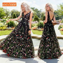 c11fc8a13e5 Sexy Black Bohemian Long Prom Dresses 2019 Prom Press Women Party V-neck  Tulle Embroidery Lace Backless Beach BOHO Evening Gowns