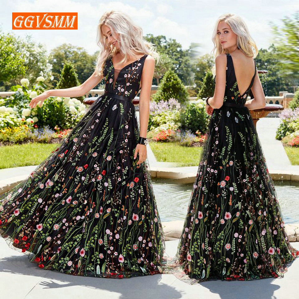 Sexy Black Bohemian Long   Prom     Dresses   2019   Prom   Press Women Party V-neck Tulle Embroidery Lace Backless Beach BOHO Evening Gowns
