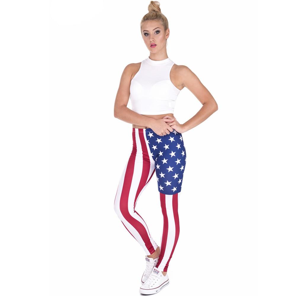Fccexio Women Leggings High Waist Fitness Legging  New Style Flag America Printed Leggins Female Pants Workout Slim Trousers