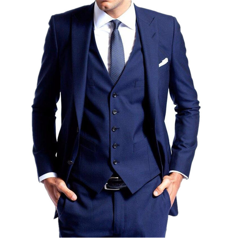 Blue Slim Fit Men Custom Made 3 Piece Grooming Tuxedos Suits Men Casual Fashion Party Prom Suits Costume Homme Jacket Vest Pants