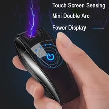 Smart Touch Screen USB Lighter Double Arc Windproof Flameless Electronic Lighter Cigarette Lighter Plasma Lighter цена