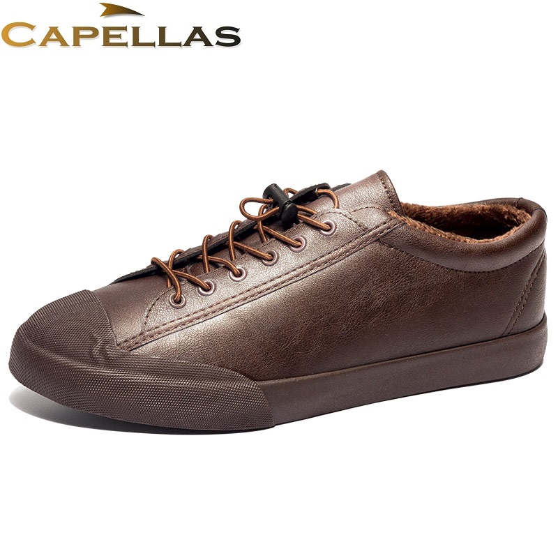 CAPELLAS Winter Mens Leather Shoes Casual Men`s Flats Shoes Moccasins Fashion Casual Shoes Winter Men Shoes Size 39-44 branded men s penny loafes casual men s full grain leather emboss crocodile boat shoes slip on breathable moccasin driving shoes